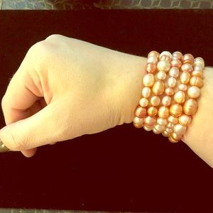 Freshwater Pearl Bracelets in Pink/Champagne